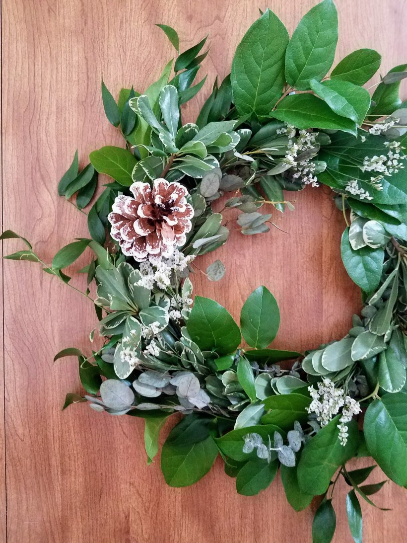 Mixed Greens Wreath with fresh stems of lemon leaf, eucalyptus