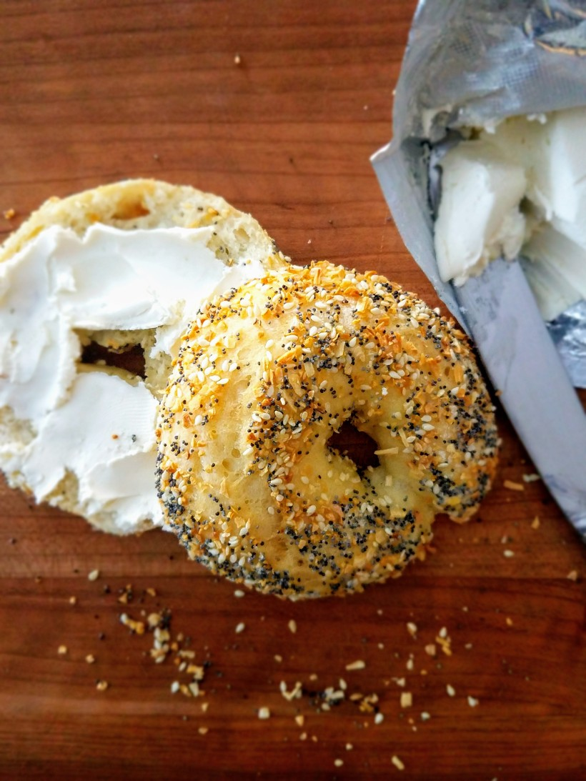 Easy Homemade Everything Bagels with cream cheese spread