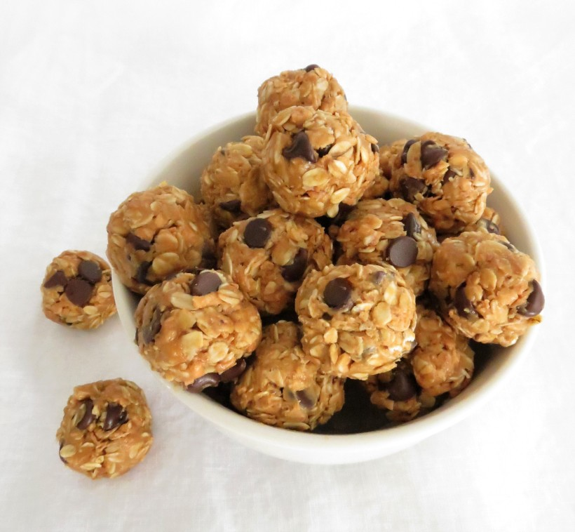 Energy Bites with chocolate chips, rolled oats and toasted shredded coconut. l ashleyspaige.com