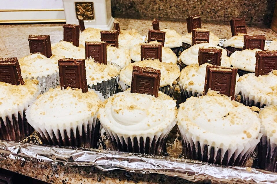 Chocolate Cupcake with fluffy marshmallow frosting and graham cracker crumb topping