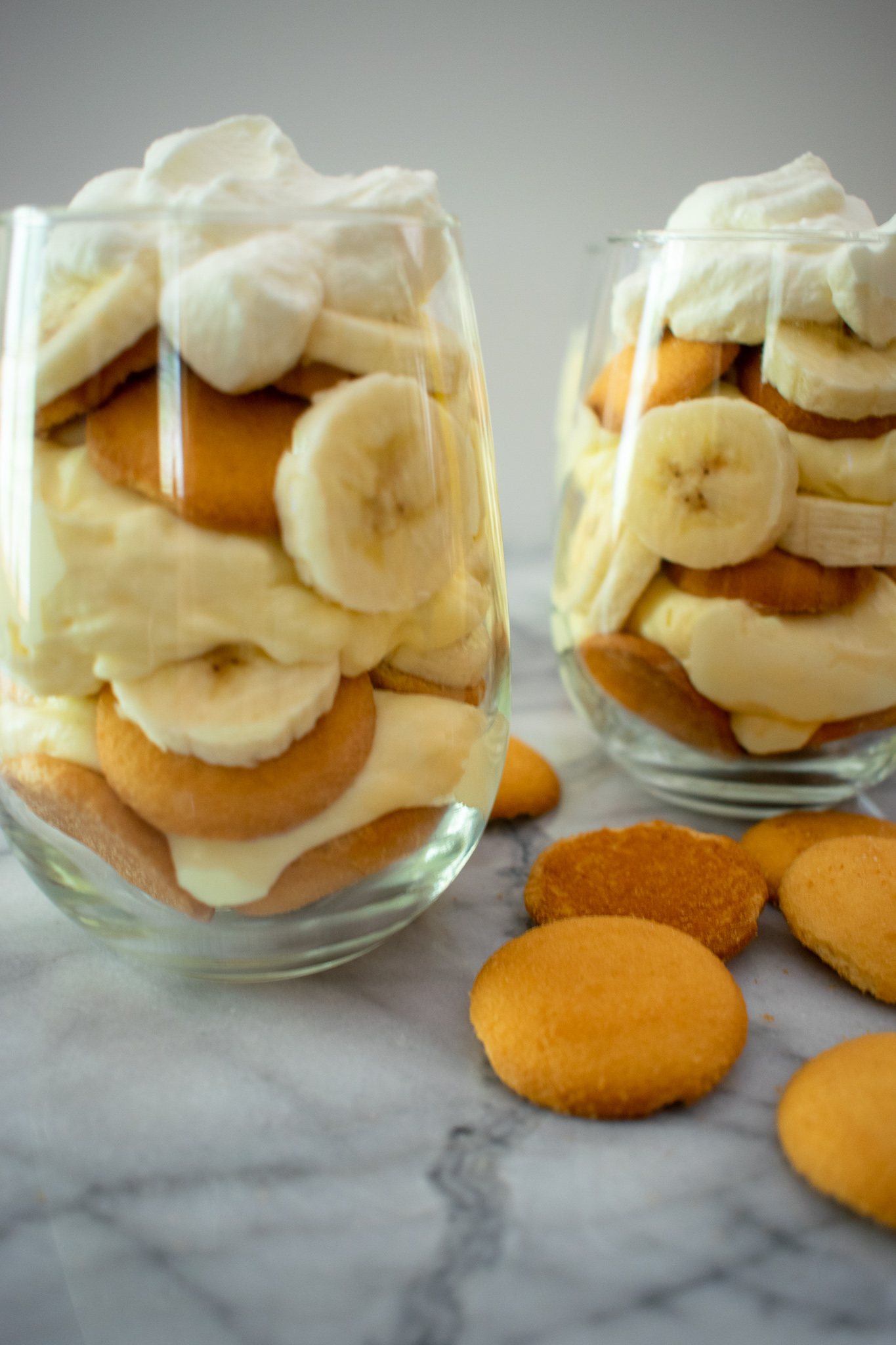 Old Fashioned Banana Pudding layered with Nilla Wafers, silky pudding, sliced bananas and homemade whipped cream.